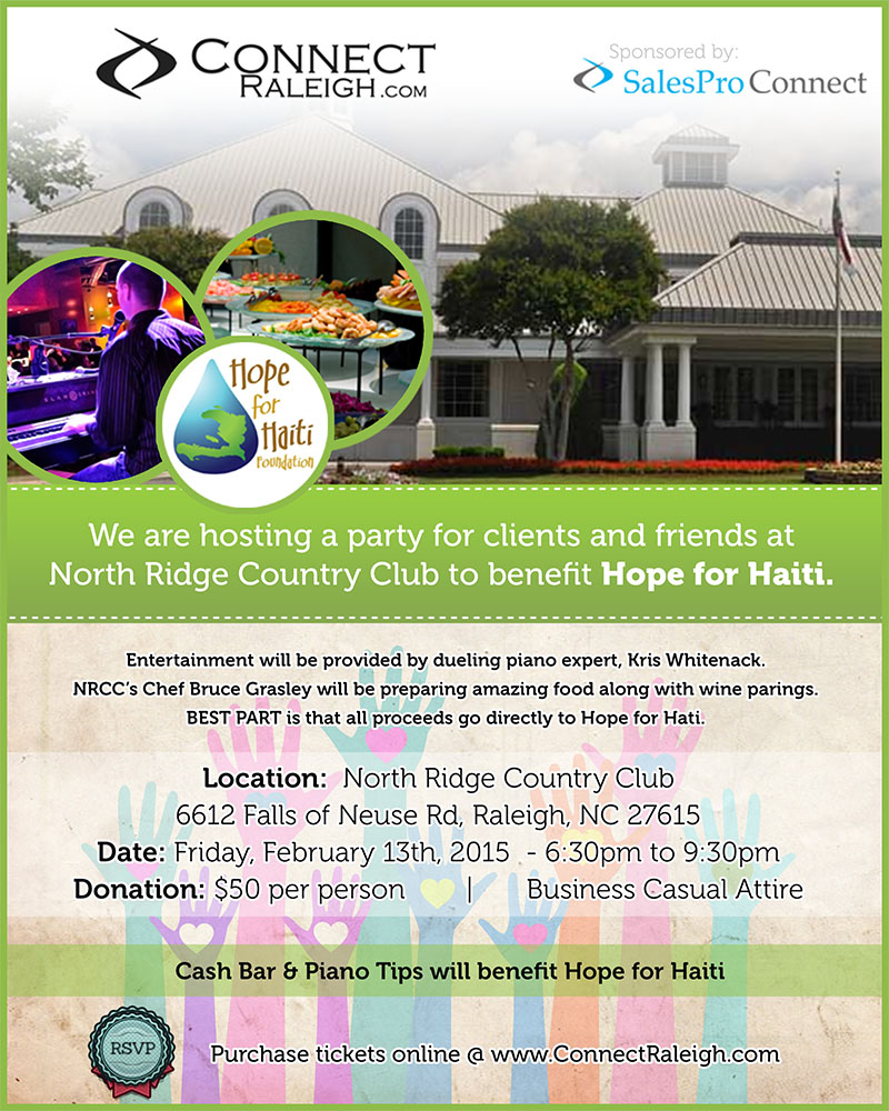 CONNECT Raleigh - 2/13/15 - 6:30pm - 9:30pm @ North Ridge Country Club - Raleigh, NC - Dueling Pianos for Hope Haiti