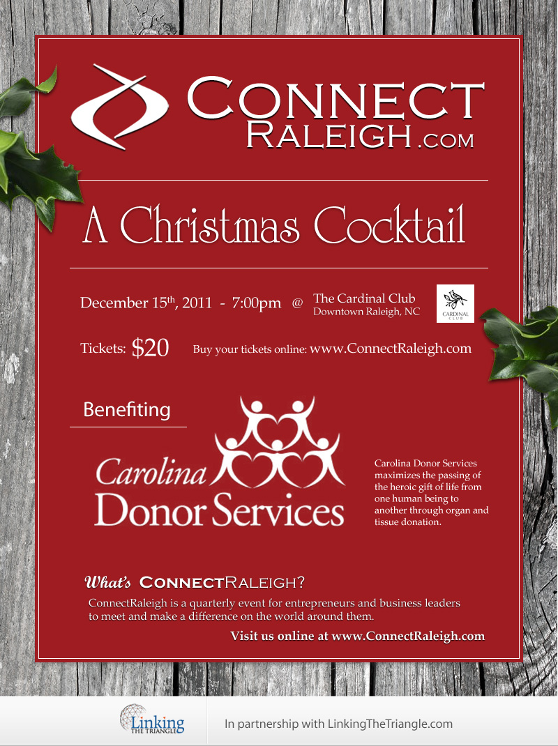 CONNECT Raleigh - A Christmas Cocktail - 12/15/11 - 7pm at The Cardinal Club in Downtown Raleigh, NC